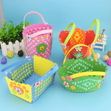 Children DIY Assembling Handmade Braid Basket Cute Flower Style DIY Crafts Colorful Cartoon Creative Toys for Boys Girls(China)