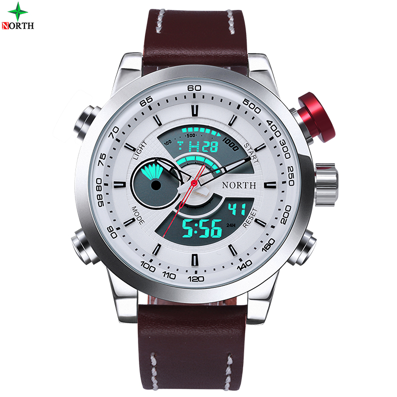 Male Sport Watch Multifunction LED Digital Dual Time Hours Wrist Analog Round 2016 Fashion Casual Quartz