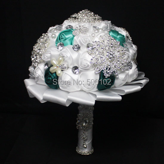 White and Green Rose Artificial Pearl And Diamond Wedding Bouquet