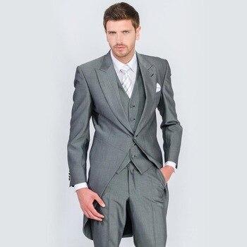 Morning Style 2017 Light Grey Groom Tuxedos Peak Lapel Groomsmen Best Man Mens Wedding Suits Formal Wedding Tailcoat 3 Pieces