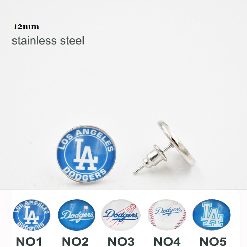 10 Pairs Glass Round Los Angeles Dodgers Earrings 12MM 316L Stainless Steel Stud Earrings