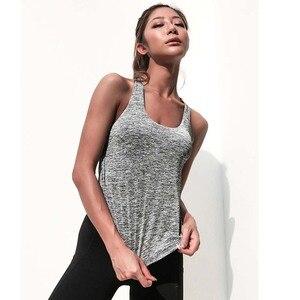 Image 4 - Fack top com enchimento interno feminino, duas peças, regata esportiva, camiseta fitness para corrida, roupa de academia