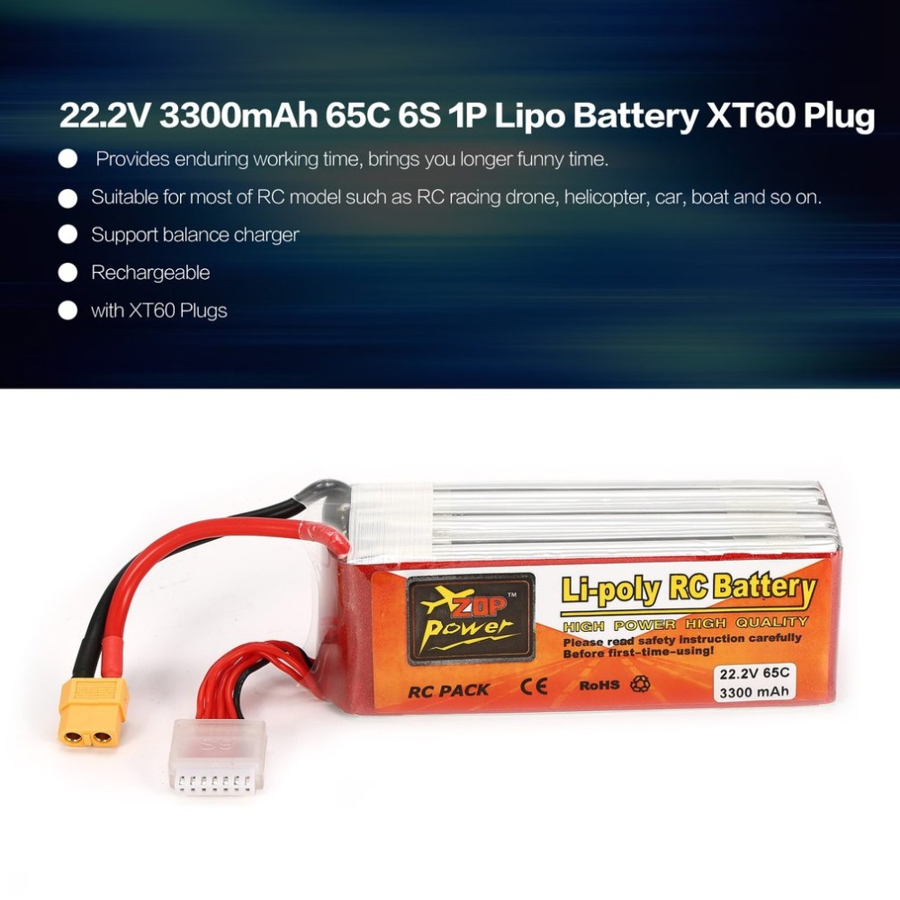 все цены на ZOP Power 22.2V 3300mAh 65C 6S 1P Lipo Battery XT60 Plug Rechargeable for RC Racing Drone Quadcopter Helicopter Car Boat Model