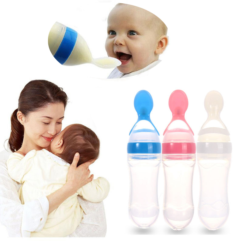 2018 Newborn Baby Feeding Bottle Feeder Infant Silicone Bottles with Spoon Food Rice Cereal Bottle Newborn Safe Food Supplement