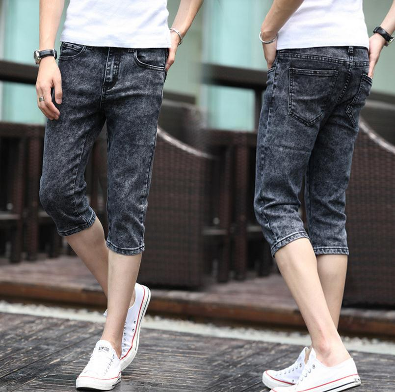 Summer 2017 Fashion Men   Jeans   Grey Slim Fit Capric Calf-Length Teenagers Boys Hip Hop   Jeans   homme 28-34