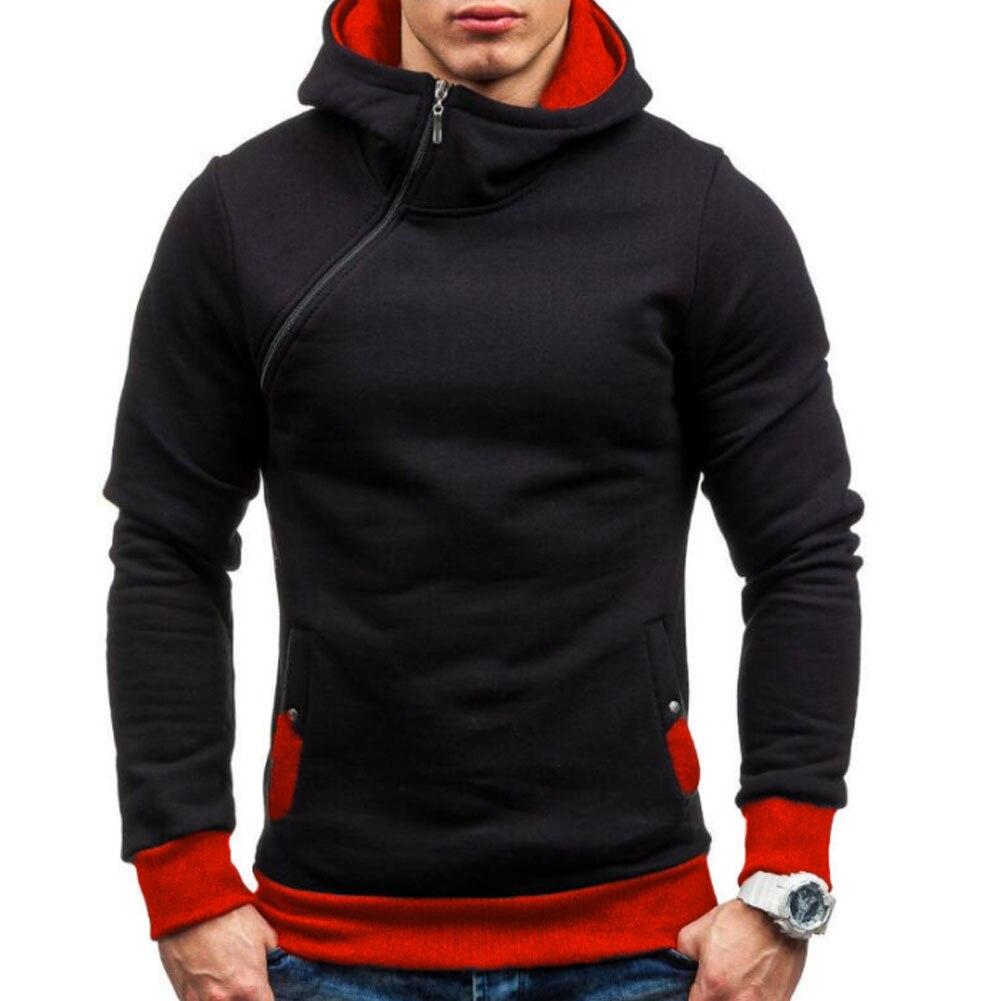 Marke 2018 Kapuzenpullover Schräge Reißverschluss Einfarbig Hoodies Men Fashion Trainingsanzug Männliche Sweatshirt Hoody Herren Zweck Tour