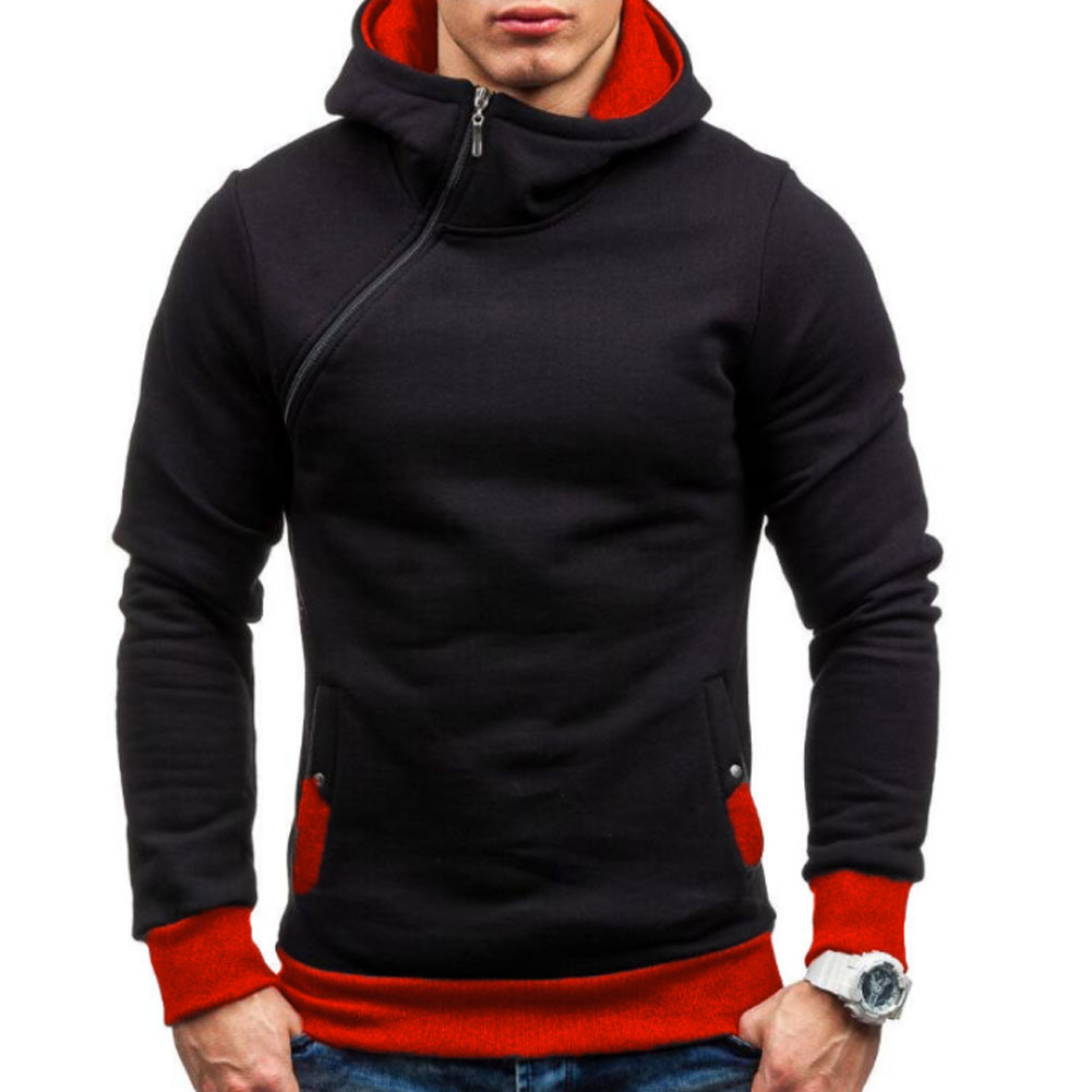 Marke 2018 Kapuzenpullover Schräge Reißverschluss Einfarbig Hoodies Men Fashion Trainingsanzug Männliche Sweatshirt Hoody Herren Zweck Tour