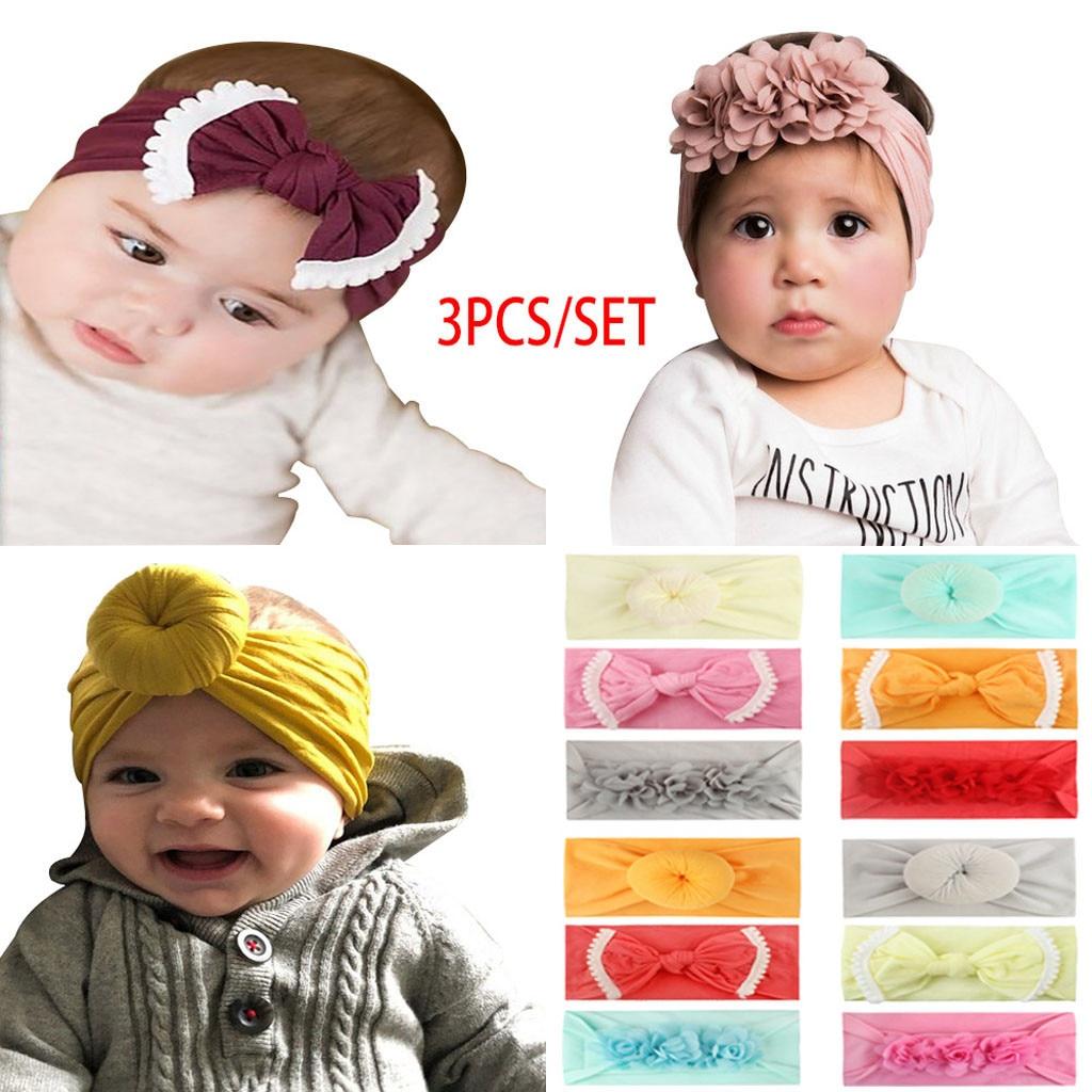 3PCS Girls Baby Toddler Turban Solid Headband Hair Band Bow Accessories Headwear