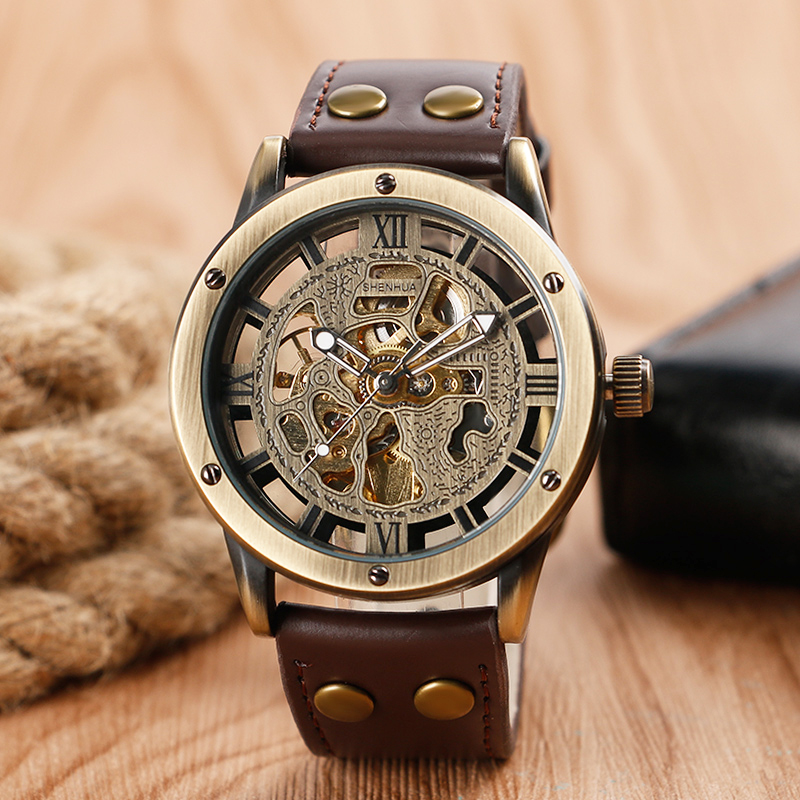 цена Antique Style Automatic Watch Mens Mechanical Luxury Vintage Self-Wind Wristwatches Fashion Business Male Clock Horloges Mannen