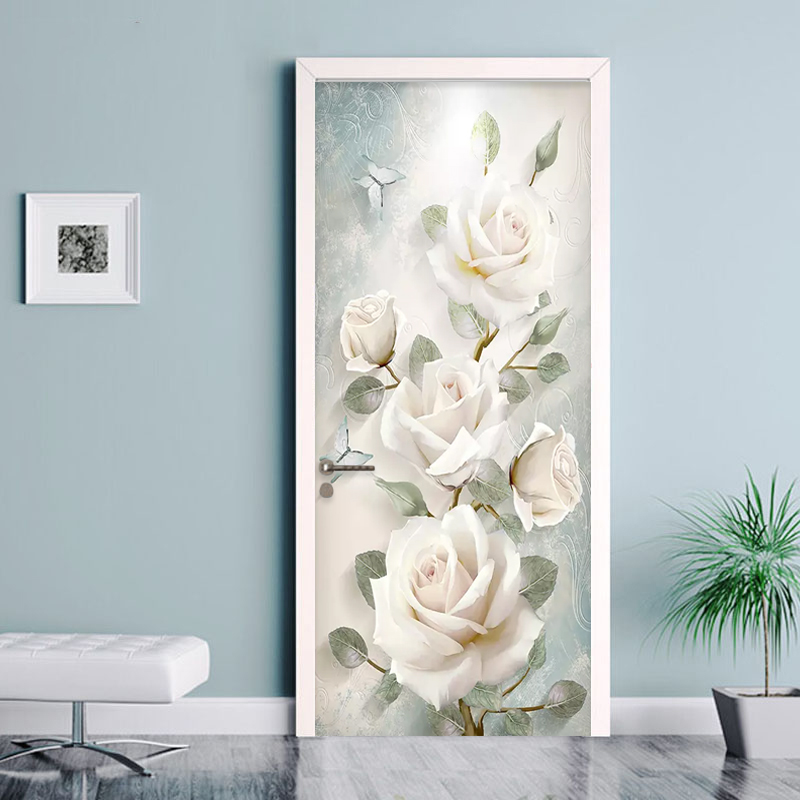Modern Flowers Oil Painting 3D Wall Door Sticker Living Room Bedroom Wallpaper PVC Self-Adhesive Waterproof Home Door Decal 3 D