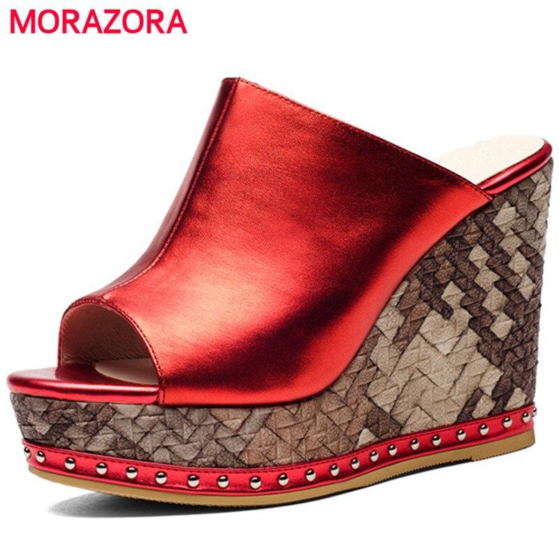 MORAZORA Top quality platform shoes fashion summer women shoes sandals genuine leather spuer heels wedges shoes
