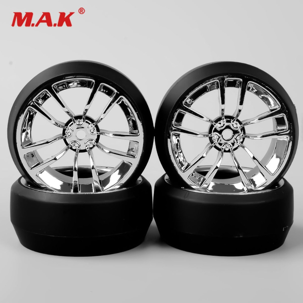 RC 4pcs Plastic Tires and Wheel rims 12mm hex For HSP HPI 1:10 On Road Drift Car