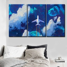 Artistic Painting Modern Home Decorative One Set 3 Piece Cartoon Aircraft Wall Art Picture For Children Room Framework Poster
