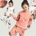 Niños primavera 2016 nuevos grandes niñas vírgenes juego de los deportes de otoño de dos piezas casual ropa de manga larga para niñas 3-12 años de edad