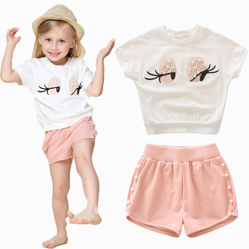2017 New arrival Pearl Girls Clothes Set Lovely Long Eyelashes Toddler Girl tops + Pants ...