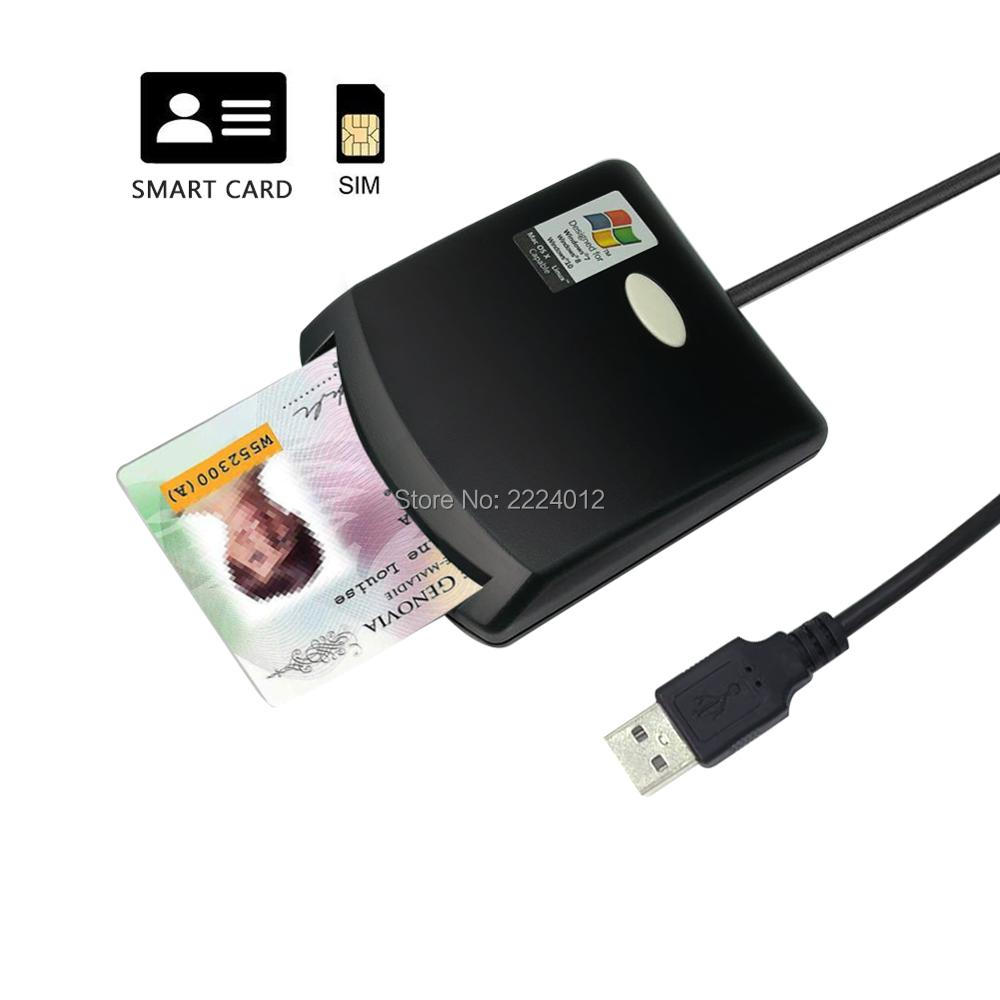 ISO7816 Contact EMV USIM SIM EID Tax On Web Smart Chip Card Reader Writer Programmer + CD Driver + 2PCS SLE4442 Chip Cards
