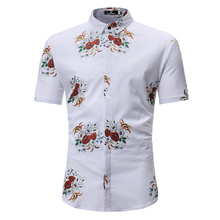 Men's Hawaiian Shirt 2019 Men's Casual White Printed Petals Beach Shirt Short Sleeve Brand Apparel 3XL hollowed leaf printed hawaiian shirt
