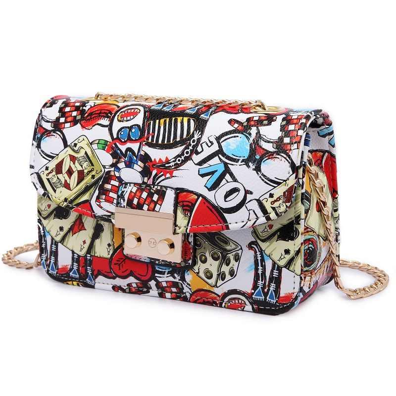 2019 новые сумка женская летние дизайнерские дамские сумки с граффити Высококачественная мини-сумка с цепочкой женские сумки-мессенджеры для женщин клатч сумки женские сумка сумка женская через плечо