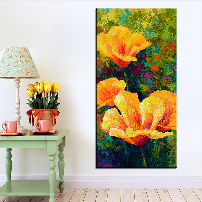 Large size Printing Oil Painting yellow field poppies Wall painting Steampunk Wall Art Picture For Living Room painting No Frame