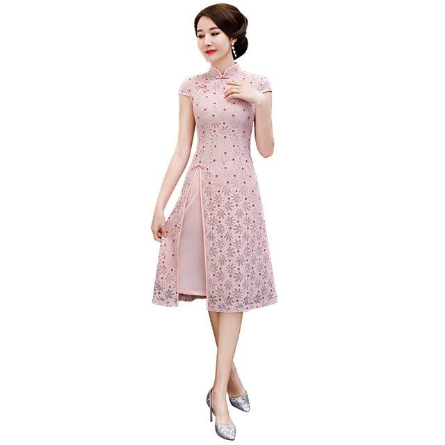 791ac4938e03f New Hot Sale Tight Pink Lace Vietnam Ao Dai Dress Chinese Vintage Cheongsam  Women' s Short Sleeve Print Short Dress M-3XL