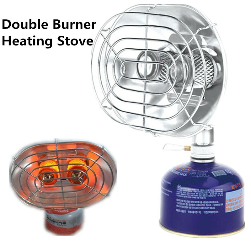 ФОТО Double Burner Heating Stove Infrared Ray Heater Camping Warmer Heating Gas Stove for Winter Camping Outdoor Fishing BRS-H22