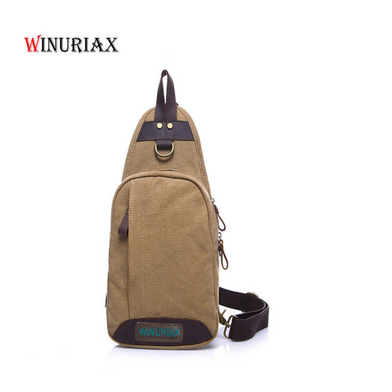 WINURIAX MEN chest bags Canvas cowhid leather shoulder messenger bag vintage casual travel crossbody small bags waterproof casual canvas satchel men sling bag