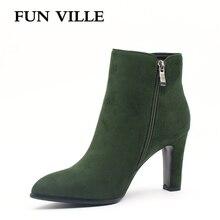 FUN VILLE 2018 Autumn winter Women Ankle Boots Hignt quality Flock Green Pointed Toe Zipper Size 35-42