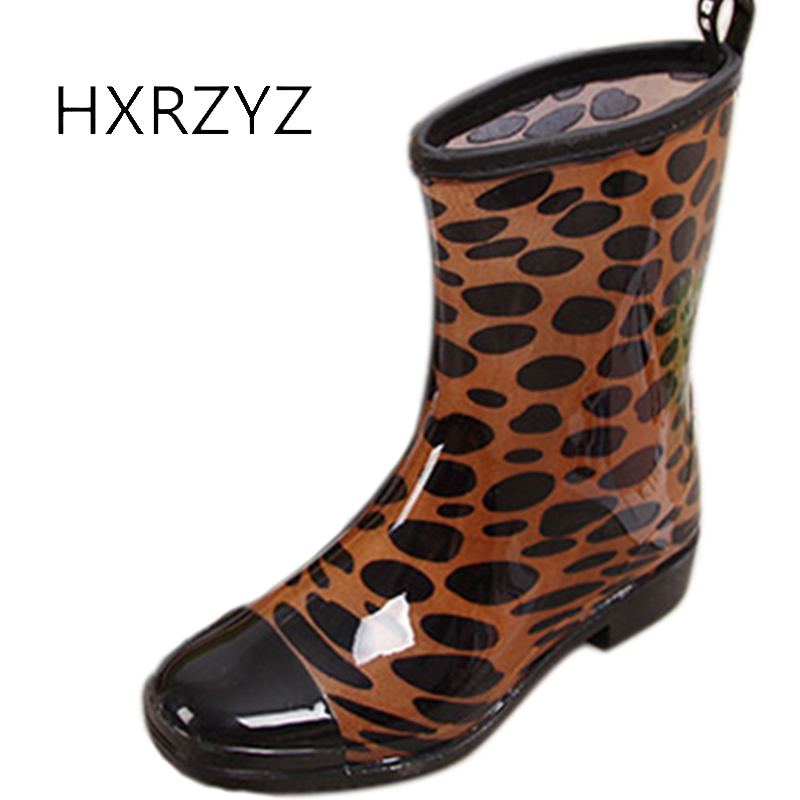 HXRZYZ women ankle rain boots ladies printing rubber boots spring/autumn fashion leopard waterproof Slip-Resistant shoes women hxrzyz women rain boots spring autumn female ankle boots ladies fashion high top blue and red non slip waterproof women shoes