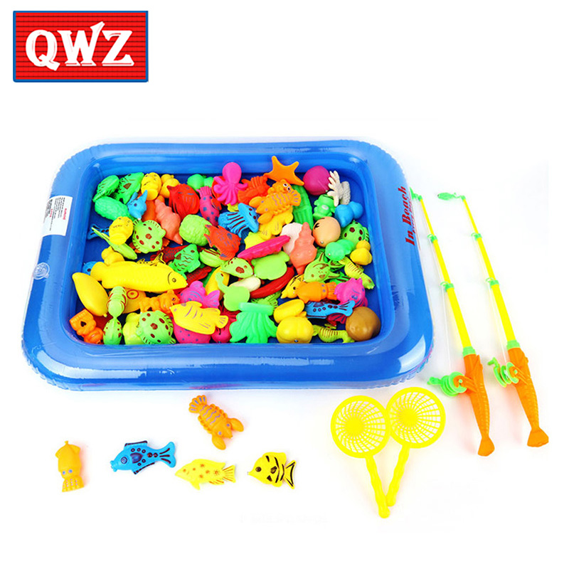 QWZ Childrens Magnetic Fishing Toy With Inflatable Pool Rod Net Set Kids Outdoor Play Fishing Games Fishing Toy Set