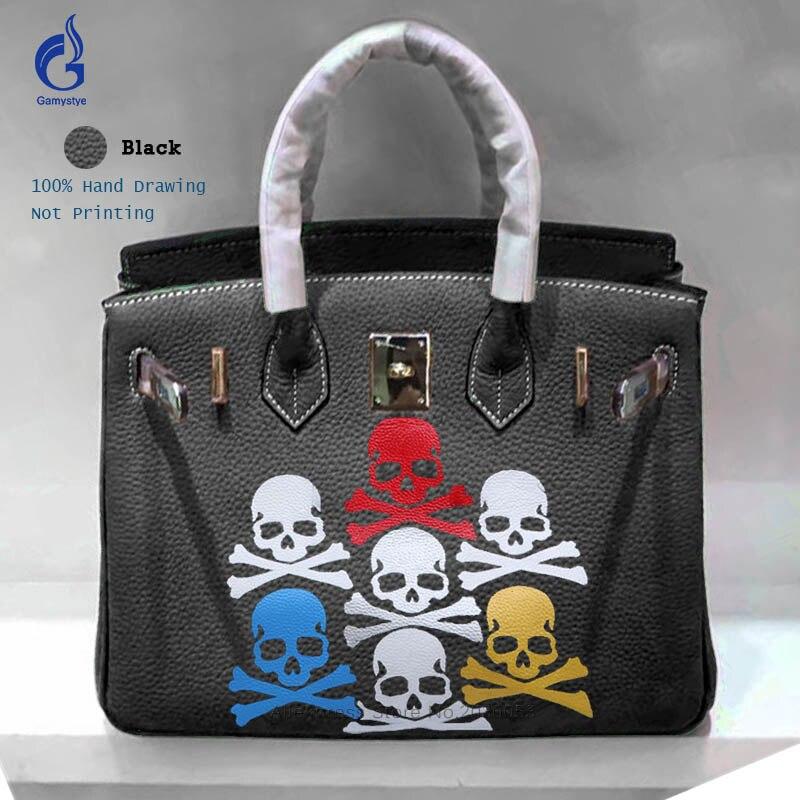 Высокое качество граффити Для женщин Курьерские сумки Ручная роспись сумки Rock Череп принты сумки золотистой фурнитурой женские сумки, повс