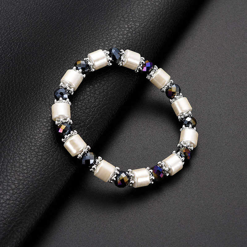 KLEEDER Weight Loss White Stone Magnetic Therapy Slimming Bracelets Fashion Jewelry Hematite Stretch Beaded Bracelet for Women