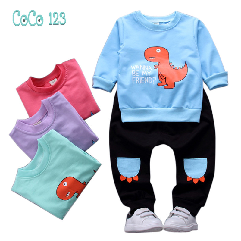 1 2 3 4 Year Baby Boys Clothes 2018 New Spring Autumn Casual Children Clothing Set Long Sleeve Shirts Pants Cartoon Kids Suits