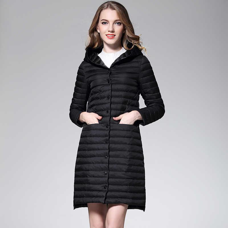 Новинка бренд женский s пуховик длинный пуховик ультра легкий пуховик женский с капюшоном однобортный ветровка пальто
