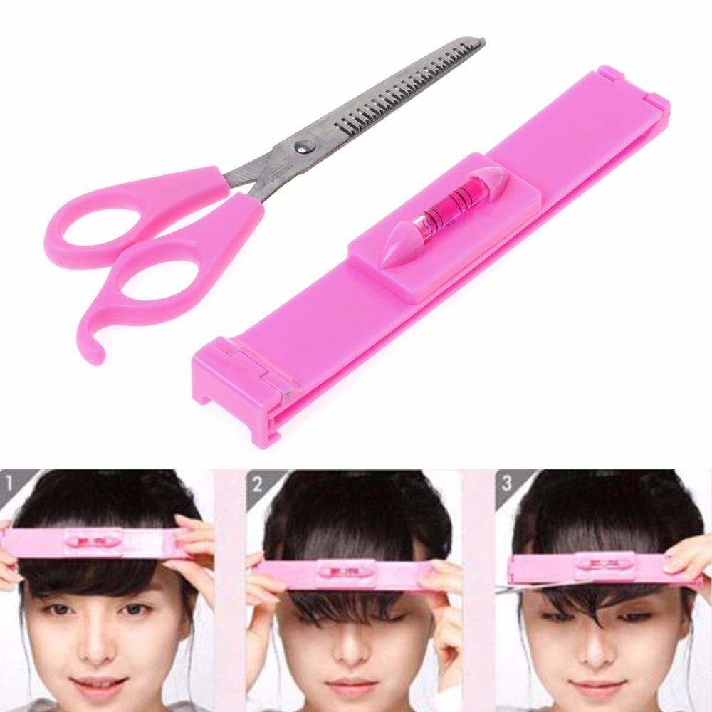 Women Girl Fashion Clipper Fringe Hair Cutting Guide Layer Bang Level Ruler Tool