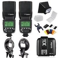 2X Godox TT685S 2.4G HSS TTL Camera Flash Speedlite + X1T S Wireless Transmitter Trigger + S type Speedlite Bracket For Sony