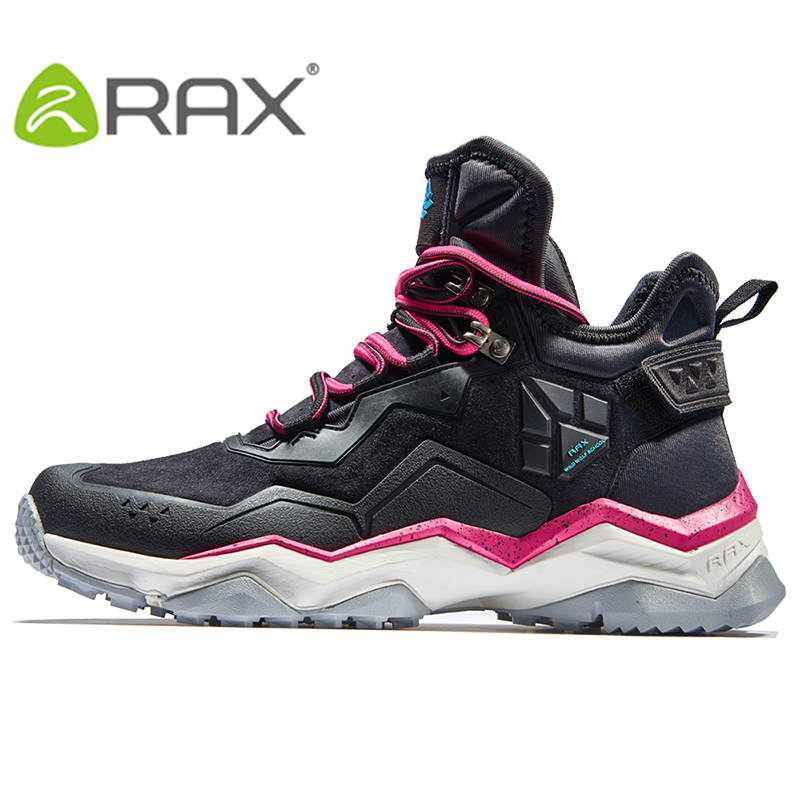 RAX Hiking Shoes Boots Waterproof Leather Upper Mountain Shoes Antislip Warm Mid-high Shoes for Women Jogging Walking