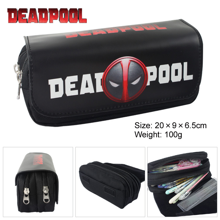 Super Heroes Deadpool Batman Canvas Double Zipper Pencil Bag Anime Pencil Case Kids Gift Stationery Container School Supplies