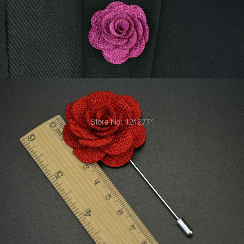 New fashion men cc brooch flower lapel pin suit boutonniere fabric yarn pin 15 colors button Stick flower brooches for wedding