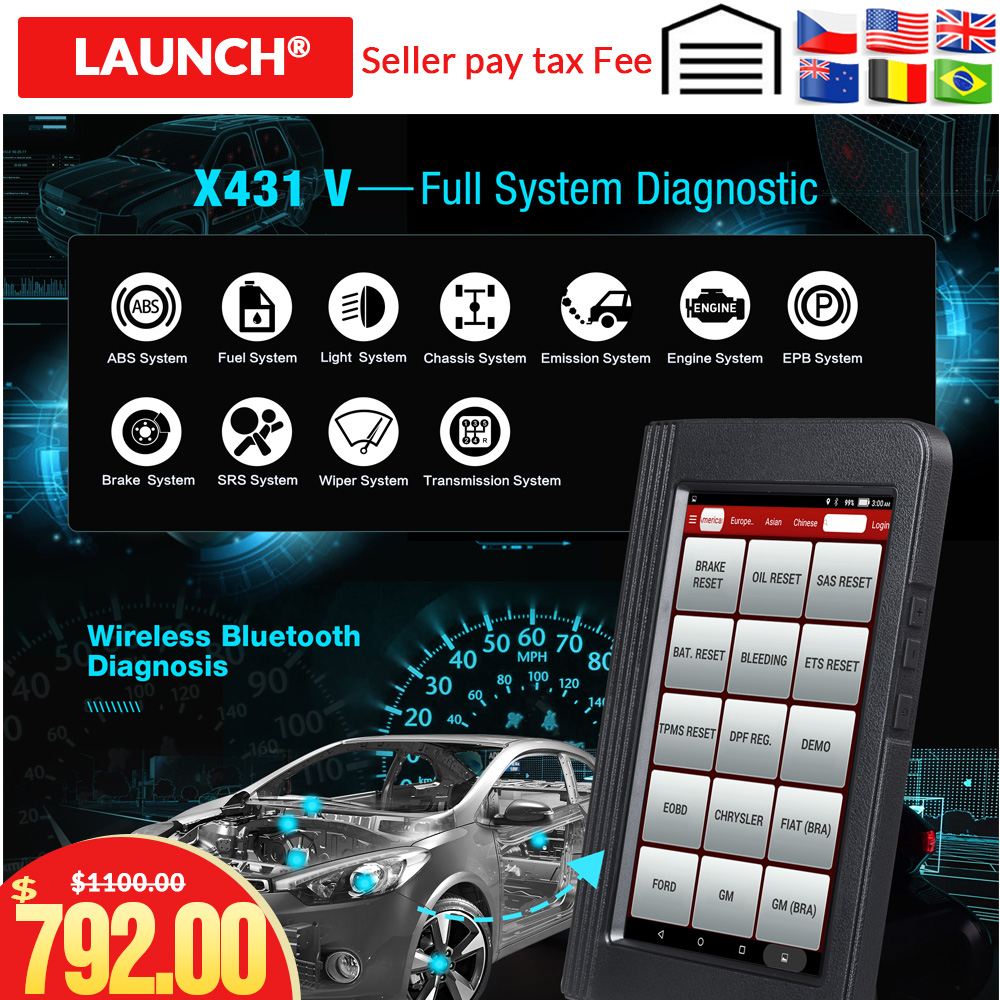 Launch X431 V 8inch Car diagnostic Tool Support WiFi Bluetooth 2 year update free 100 Original