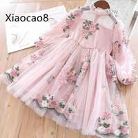 2019 frühling Nette Kinder Druck Langarm Kleider für Mädchen Kleidung Hohe Qualität Kinder Baby Mädchen Kleidung Prinzessin Kleid 3-11Y
