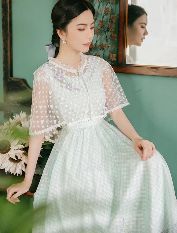 Haute qualité 2019 été nouveauté rétro col rond fleur broderie Plaid Cape Design femme longue robe en mousseline de soie