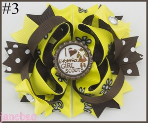 Image 3 - free shipping 12pcs Girl Scout hair bow Girl Scout hair accessories  cookies hair bow brownies daisys girls hair clips