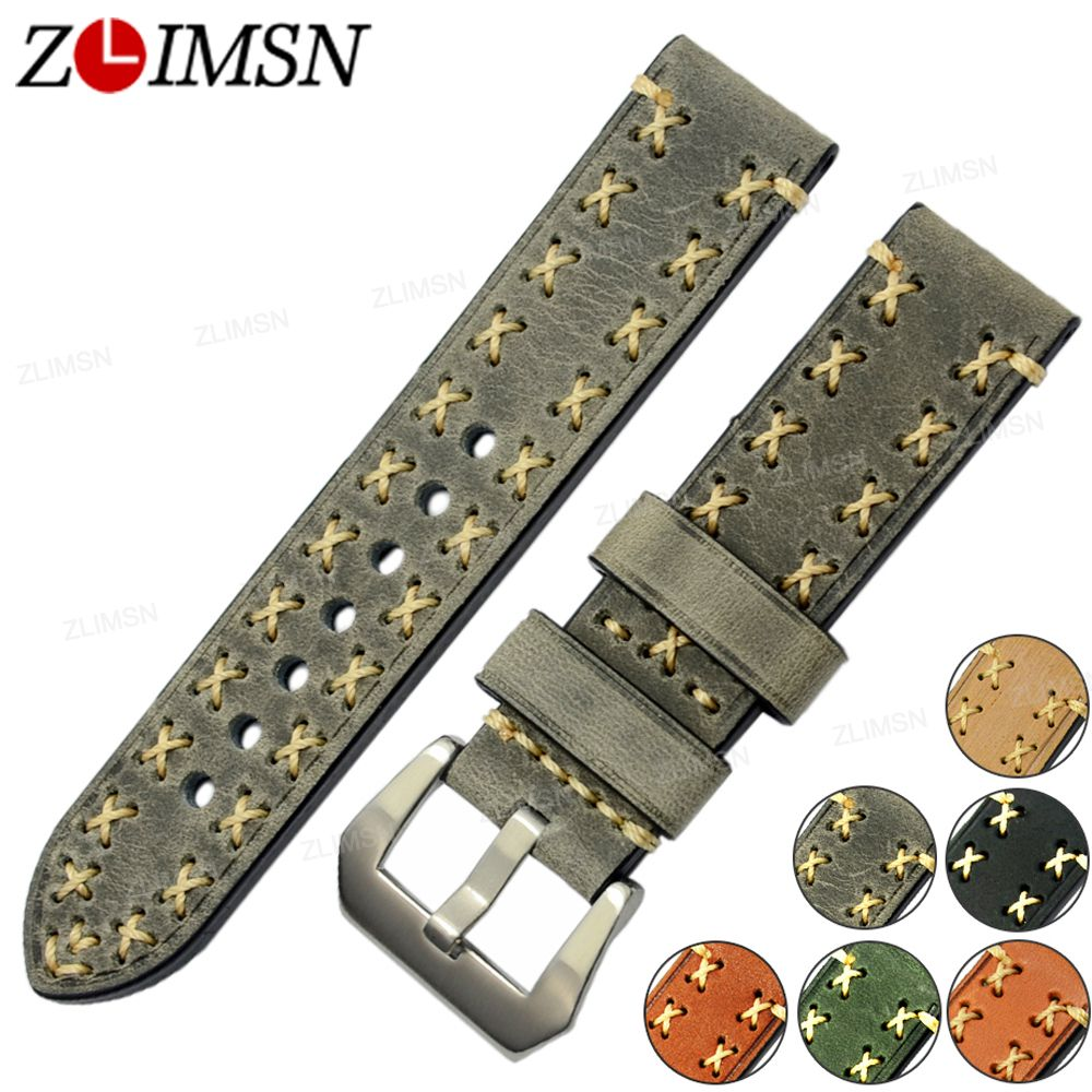 ZLIMSN Thick Real Leather Watch Strap 26mm 24mm 22mm 20mm Bands Green Brown Grey Metal Buckle