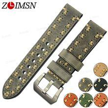 ZLIMSN Épais Cuir Véritable Bracelet De Montre 26mm 24mm 22mm 20mm Bandes Vert Brun Gris Boucle En Métal montre Accessoires relogio feminino