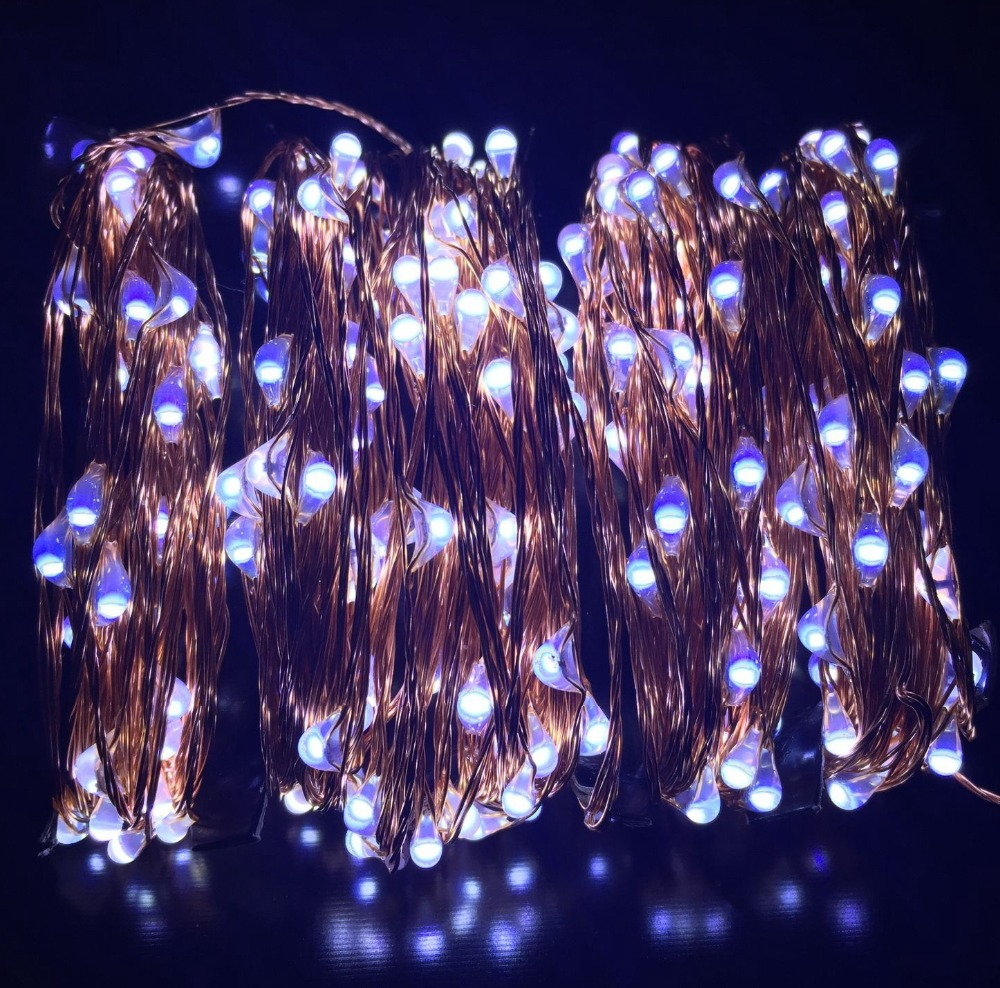 99FT 30m 300 LED Outdoor Christmas Wedding Fairy Lights Warm White Blue,RGB Silver/Copper Wire ...