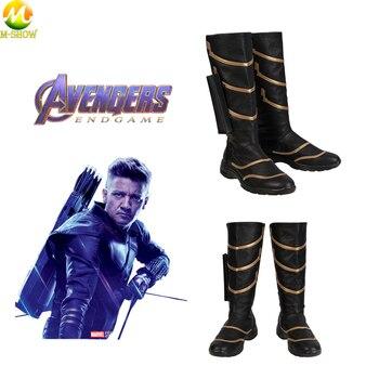 Avengers 4 Endgame Hawkeye Cosplay Costume Stivali Clinton Barton Hawkeye Nero Scarpe di Cuoio Cosplay Per Halloween Uomini