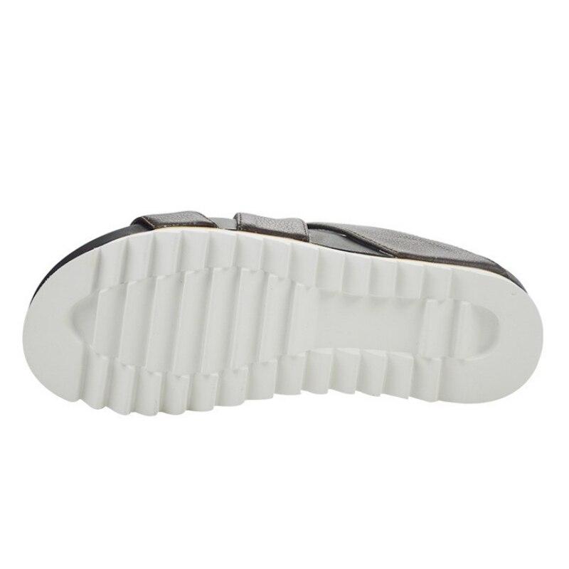 Top qualité hommes plate-forme en cuir véritable pantoufles d'été plage tongs Sandalias hauteur augmentant creux intérieur extérieur sandales - 5