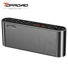 Bluetooth колонка TOPROAD, портативная беспроводная колонка с двумя динамиками и микрофоном, Hi Fi колонка с супер басами, поддержка TF карты, FM радио, USB порт