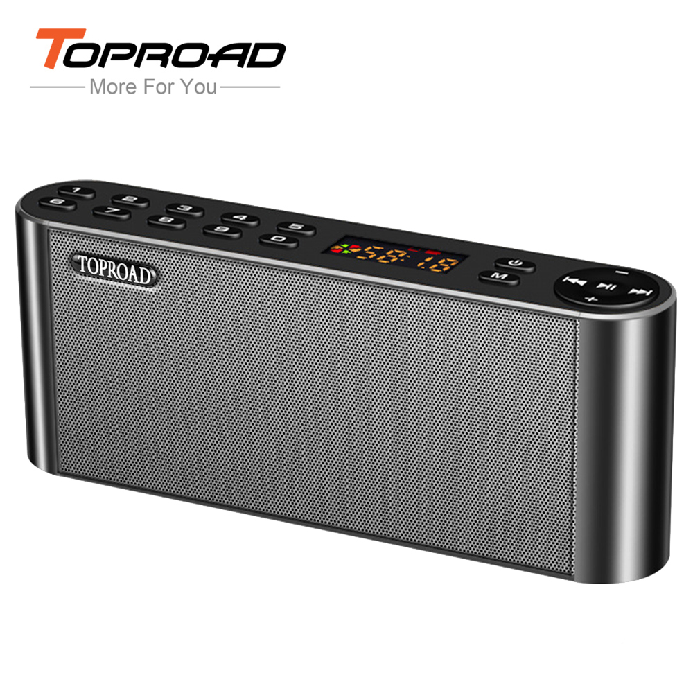 TOPROAD HIFI Bluetooth Speaker Portable Wireless Super Bass Dual Speakers Soundbar with Mic TF FM Radio USB Sound Box s309 diy wooden bluetooth speaker portable fm radio pc usb aux tf card speakers stereo bass sound box for computer android ios