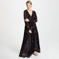 Boho Star Embroidery Maxi Dress 2019 Women Long Sleeve V neck Black White Chic Dress Laides Elegant Beach Hippie Long Dress